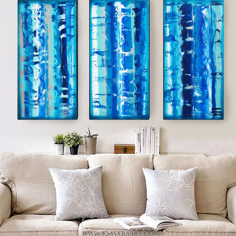 Tryptych Blue Abstract Paintings A608 art for Lounge Office | Etsy