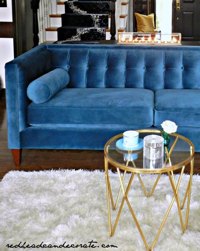My Teal Blue Velvet Sofa | Home: Living Rooms | Blue living ...