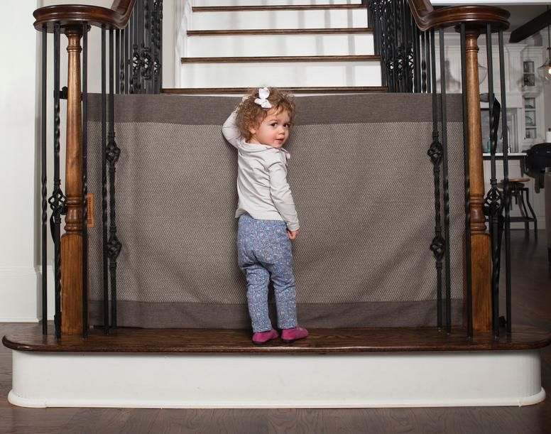 Modern Grey The Stair Barrier Fabric Safety Gate Baby Pet Gates Banister Baby Gate