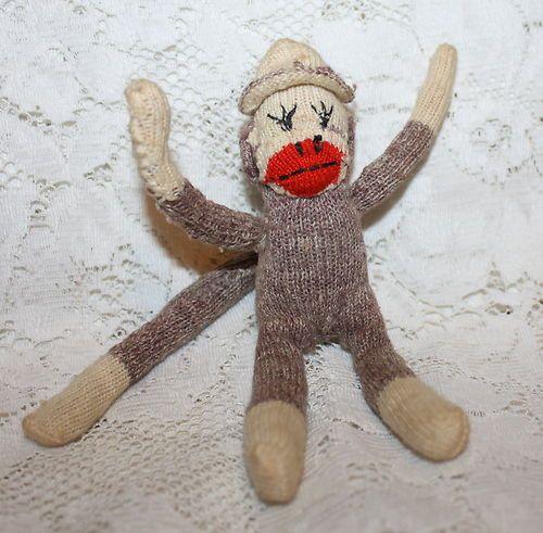 1950s Estate Find Vintage Child Sock Monkey Excellent Hand Stitched Old Doll | eBay