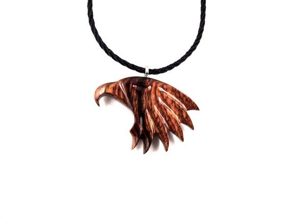 """NEW SOLID BROWN RESIN EAGLE HEAD PENDANT 34/"""" NECKLACE"""