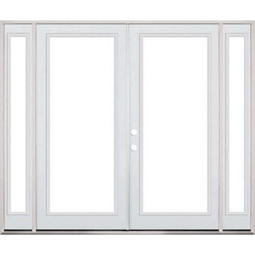 "Patio Door With Sidelites: 8'0"" Wide Full Lite Steel Patio French Double Door Unit"