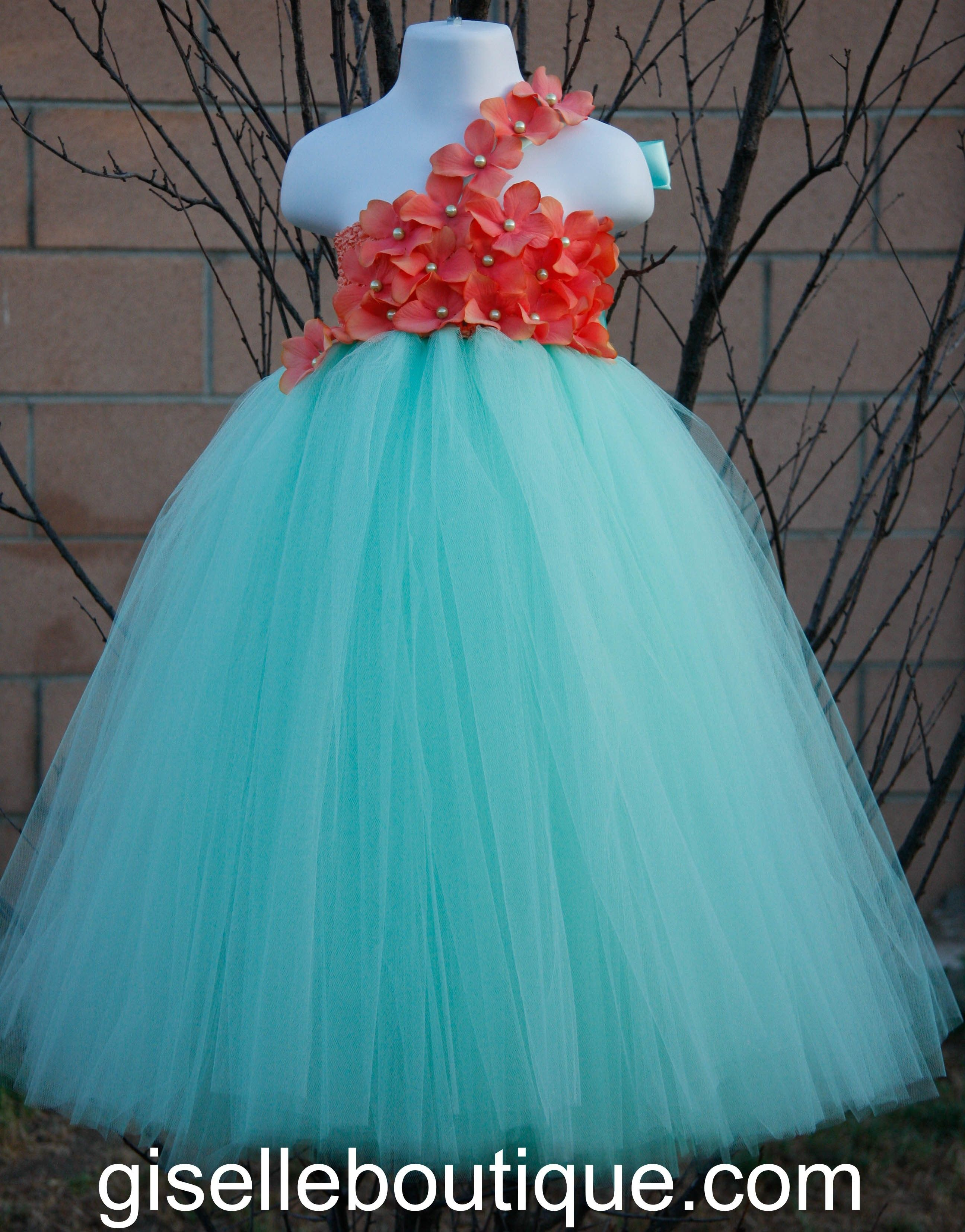 Flower girl dress. Mint with Coral Flowers TuTu Dress.baby tutu ...