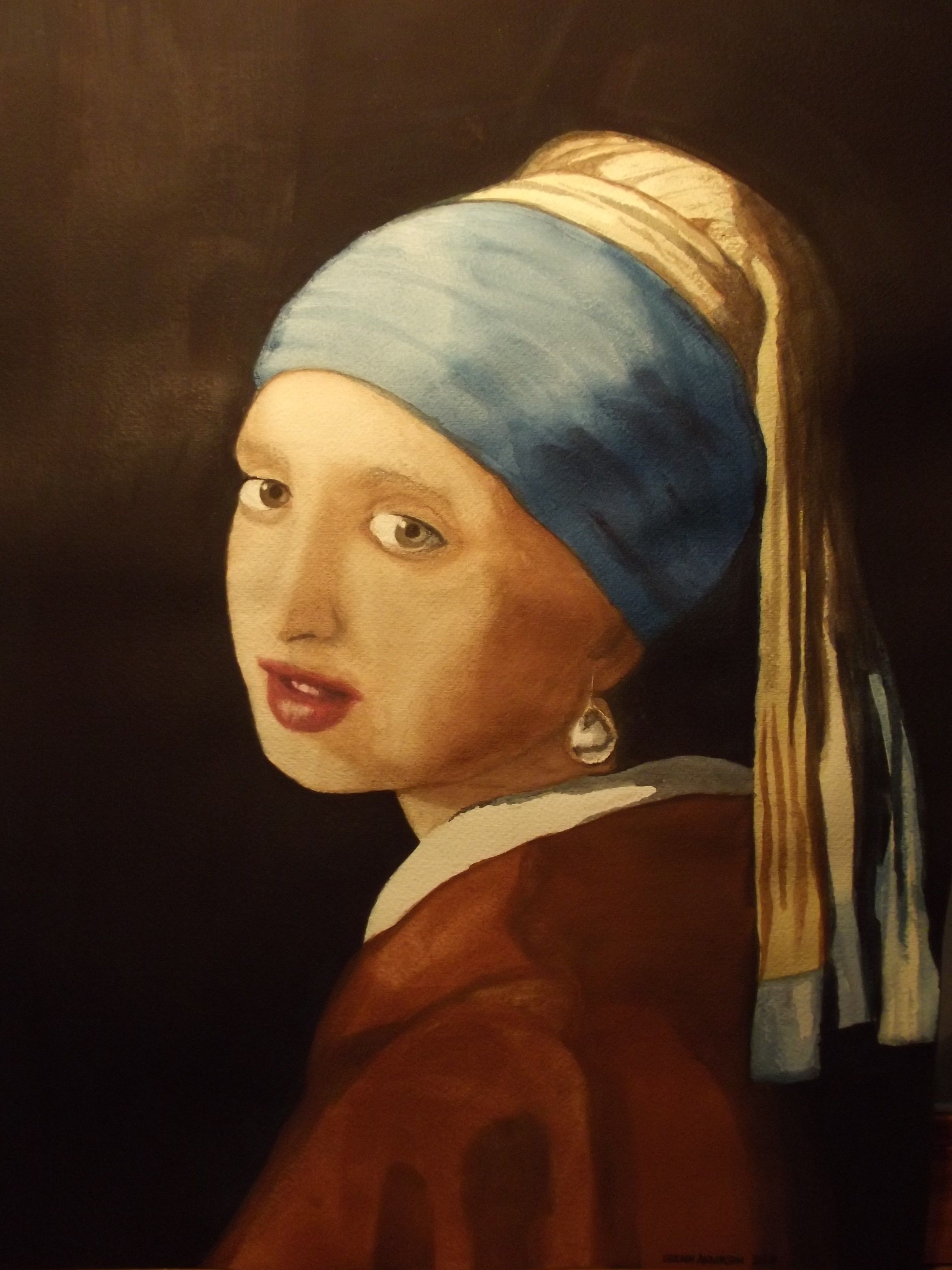 GIRL WITH A PEARL EARRING WATERCOLOR Watercolor