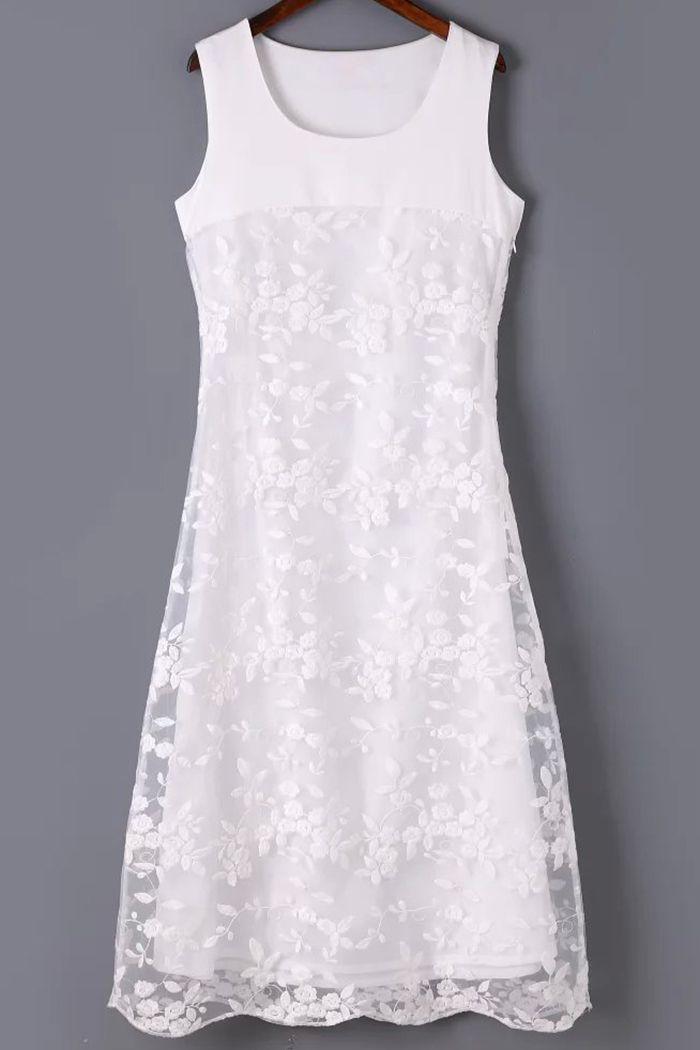 Organza Spliced Round Neck Sleeveless Embroidery Dress