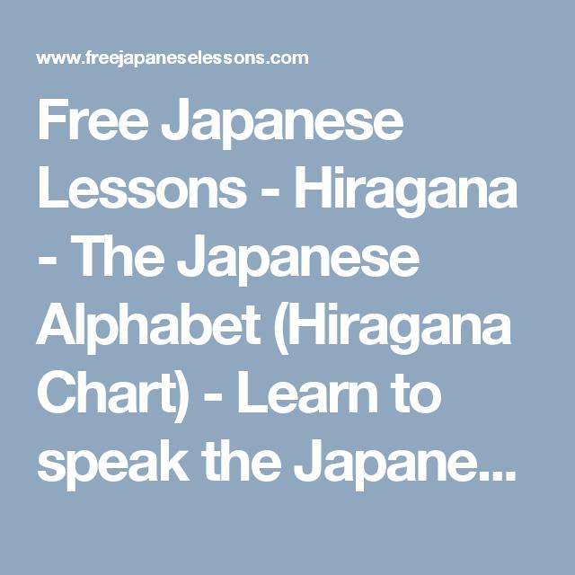 Free Japanese Lessons  Hiragana  The Japanese Alphabet Hiragana