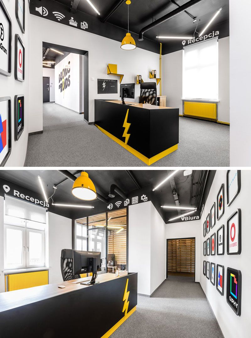 This New Office Interior Uses Wood And Black Frames To Clearly Define Spaces Modern Office Interiors Office Interiors Office Space Design