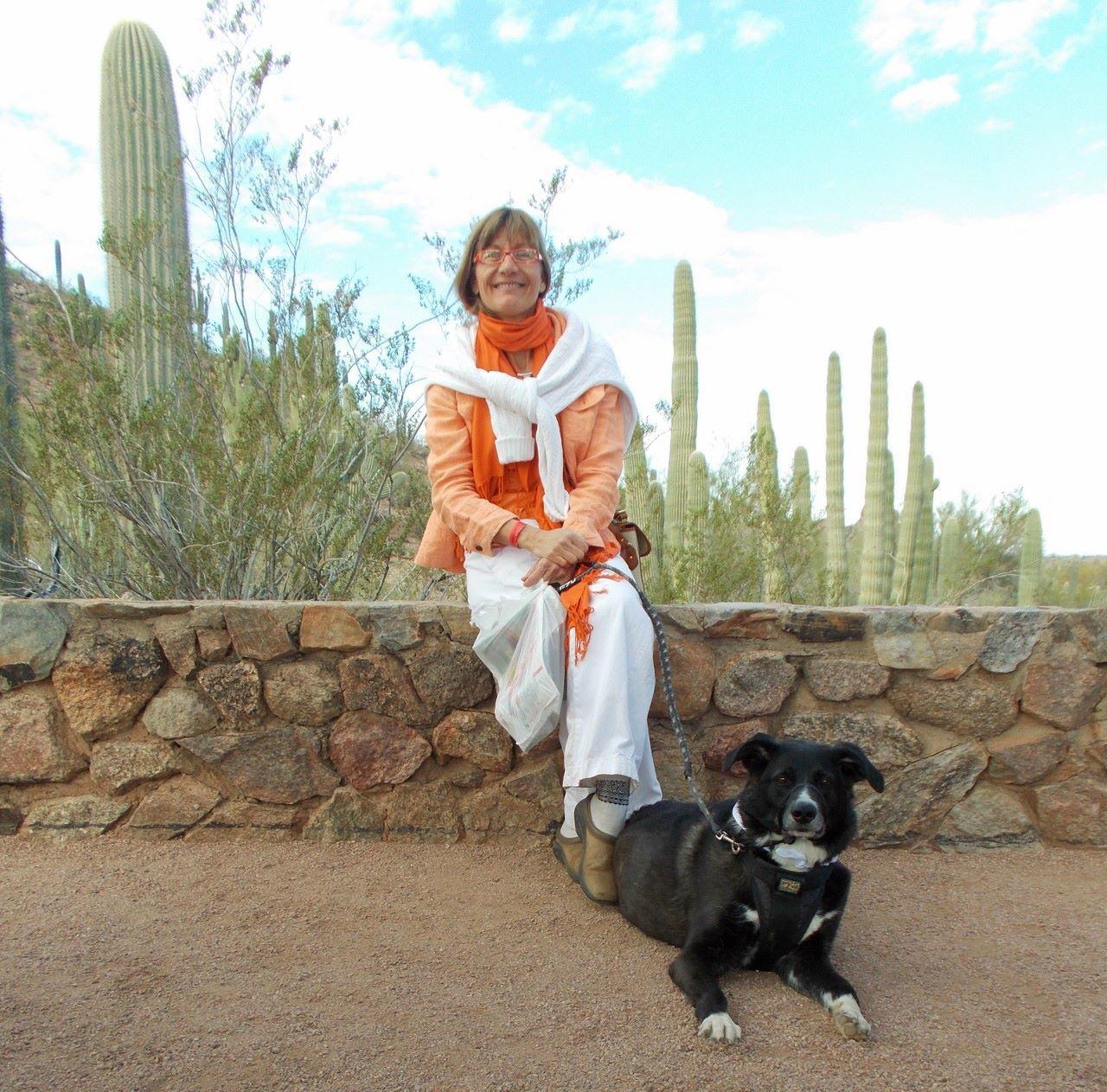 Bella Luna Tic enjoyed her day at the Desert Botanical Garden - especially the food treats