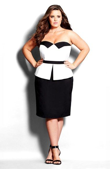 City Chic Tuxedo Peplum Sheath Dress Plus Size Available At