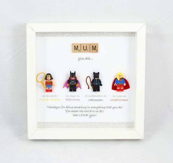 personalised lego style superhero frame catwoman batwoman wonderwoman superwoman. Black Bedroom Furniture Sets. Home Design Ideas