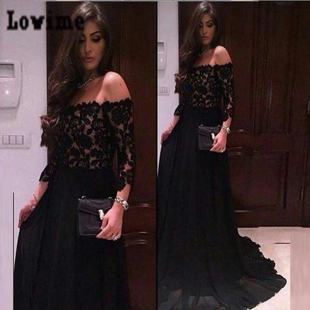 Negro-del-hombro-De-largo-mangas-vestidos-noche-2016-larga-De-encaje