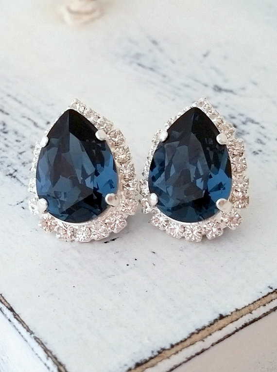 Navy Blue Crystal Swarovski Stud Earrings Wedding Tear Drop By