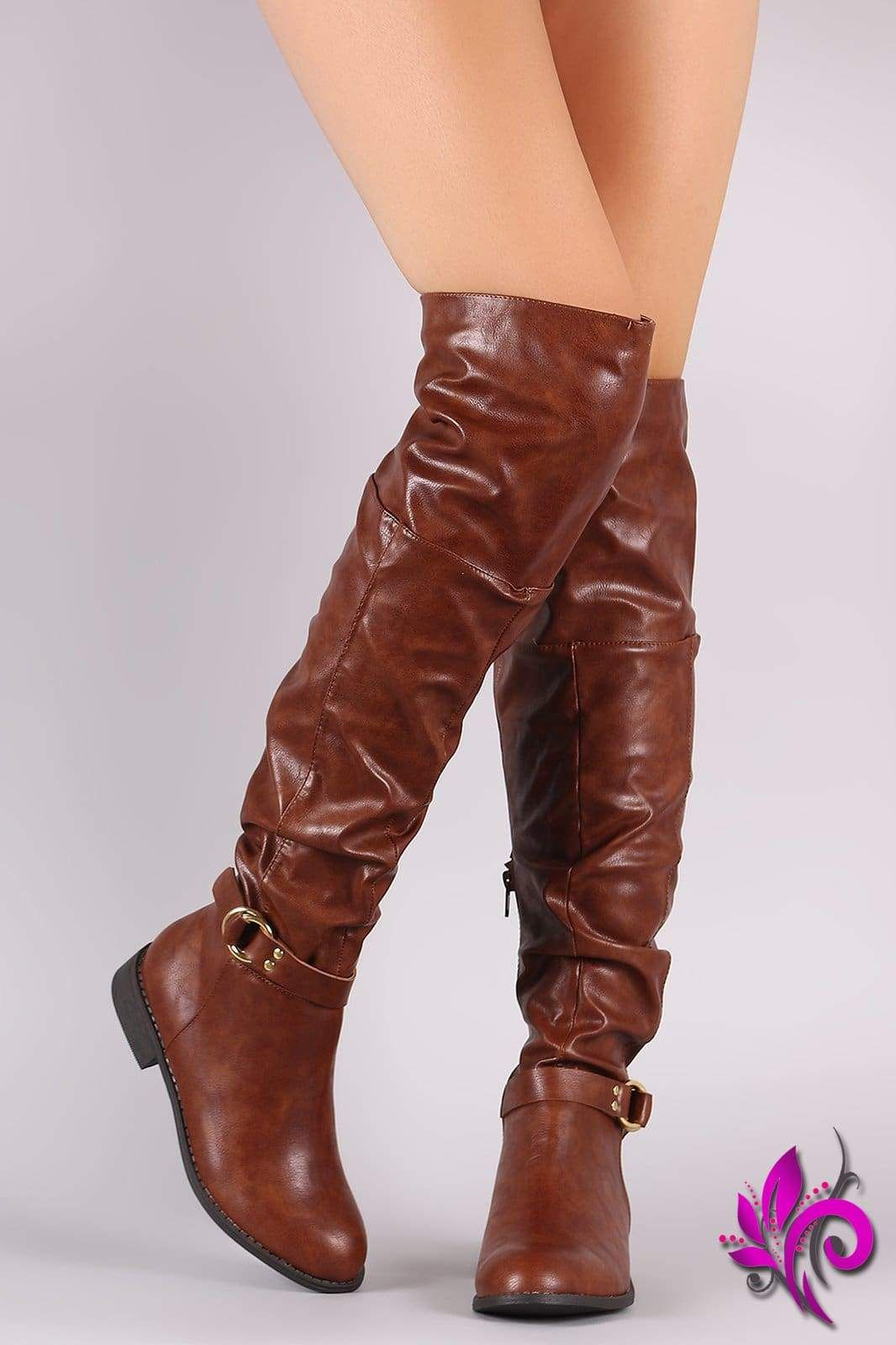 9917224b9249 Wild Diva Lounge O-Ring Buckle Slouchy Slouchy OTK Boots in 2019 ...