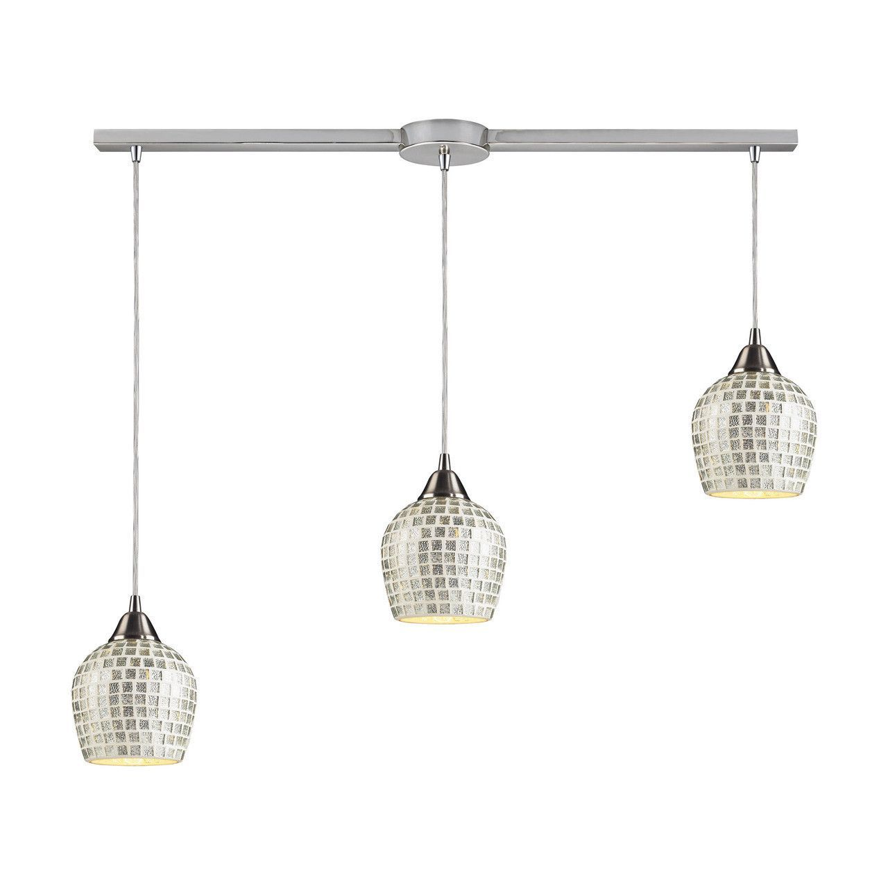 Fusion light pendant in satin nickel and silver glass lslv