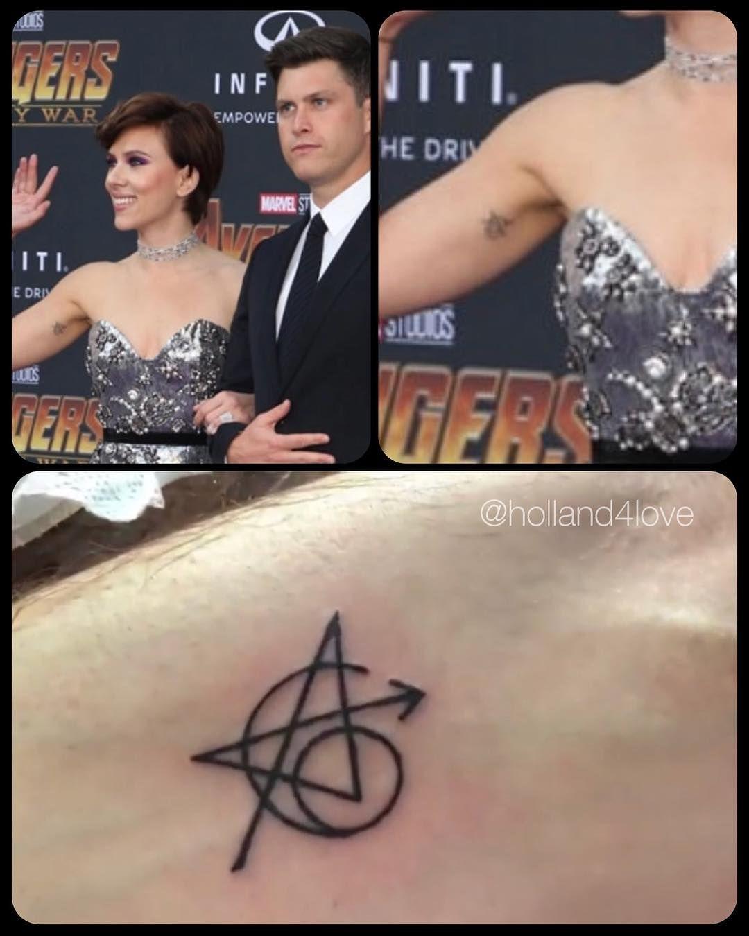 Image result for scarlett johansson avengers tattoo