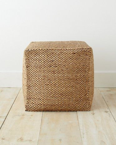 Water Hyacinth Woven Cube Ottoman Home Decor Living