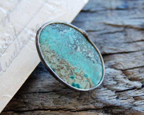 Chrysocolla- Earthy stone - Gemstone - Statement ring- Adjustable ring - Cocktail ring - Naturelovers by MARIAELA.