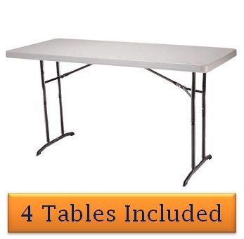 4 Lifetime Adjustable Folding Tables 42920 Utility 6 Ft Almond Top