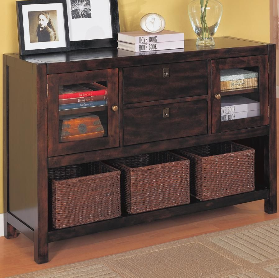 Furniture The Great Features Of Storage Baskets For Shelves Elegant Dark Wooden Cabinet Design With Brown Wicker Basket And Yellow Wall