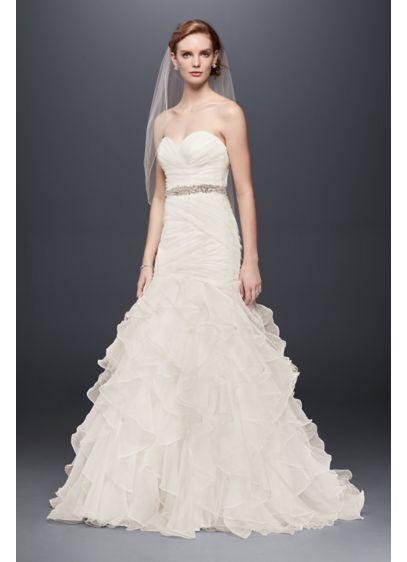 Unique Organza Mermaid Wedding Dress with Ruffled Skirt Style WG