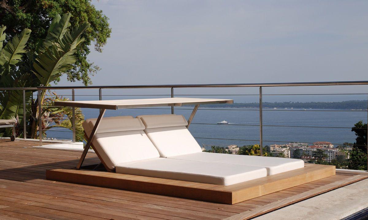 Moderne Liege Doppel Holz Garten Sundeck Honeymoon Sun Lounger Teak Chairs Contemporary Lounge Chair