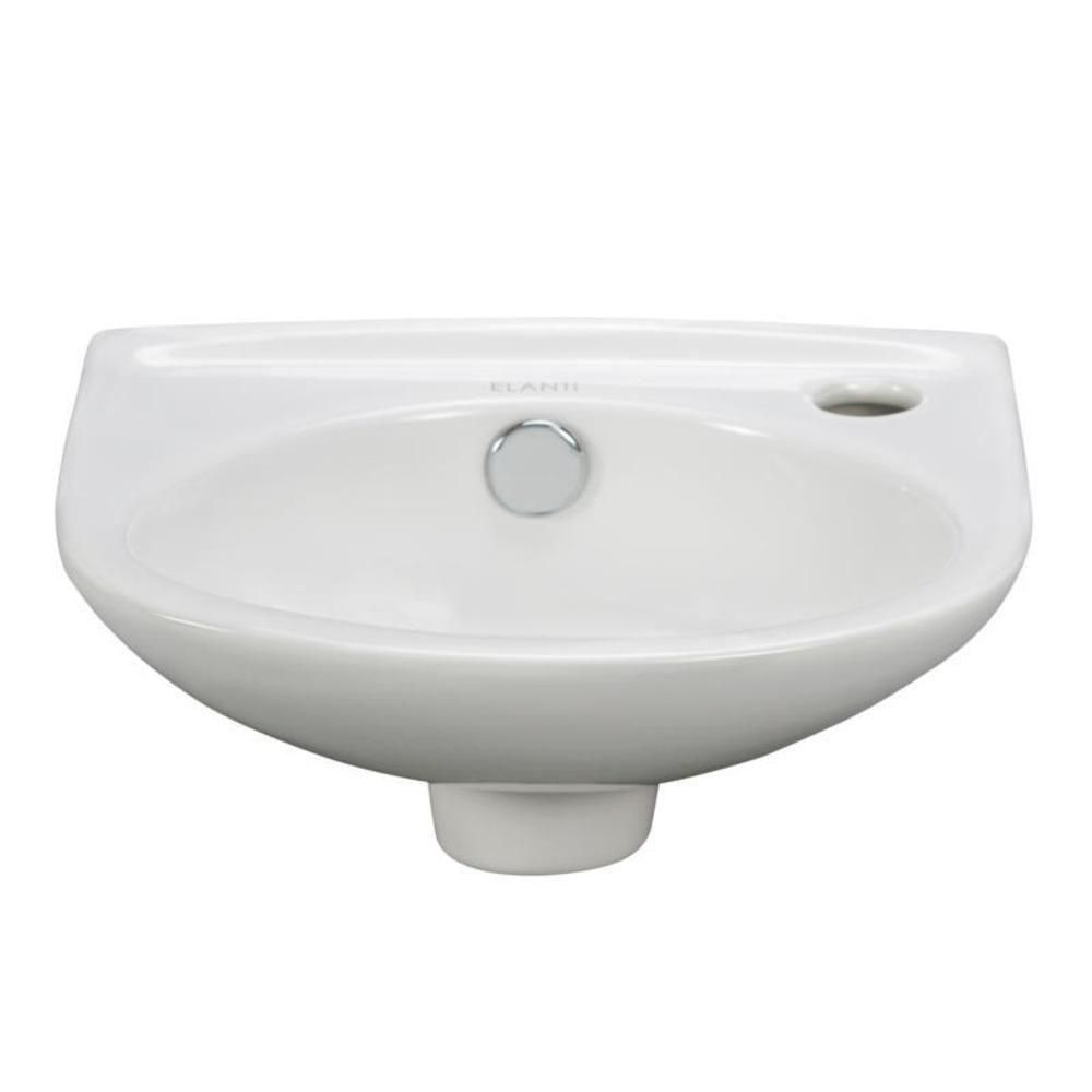 Elanti Wall Mounted Oval Compact Bathroom Sink In White Compact