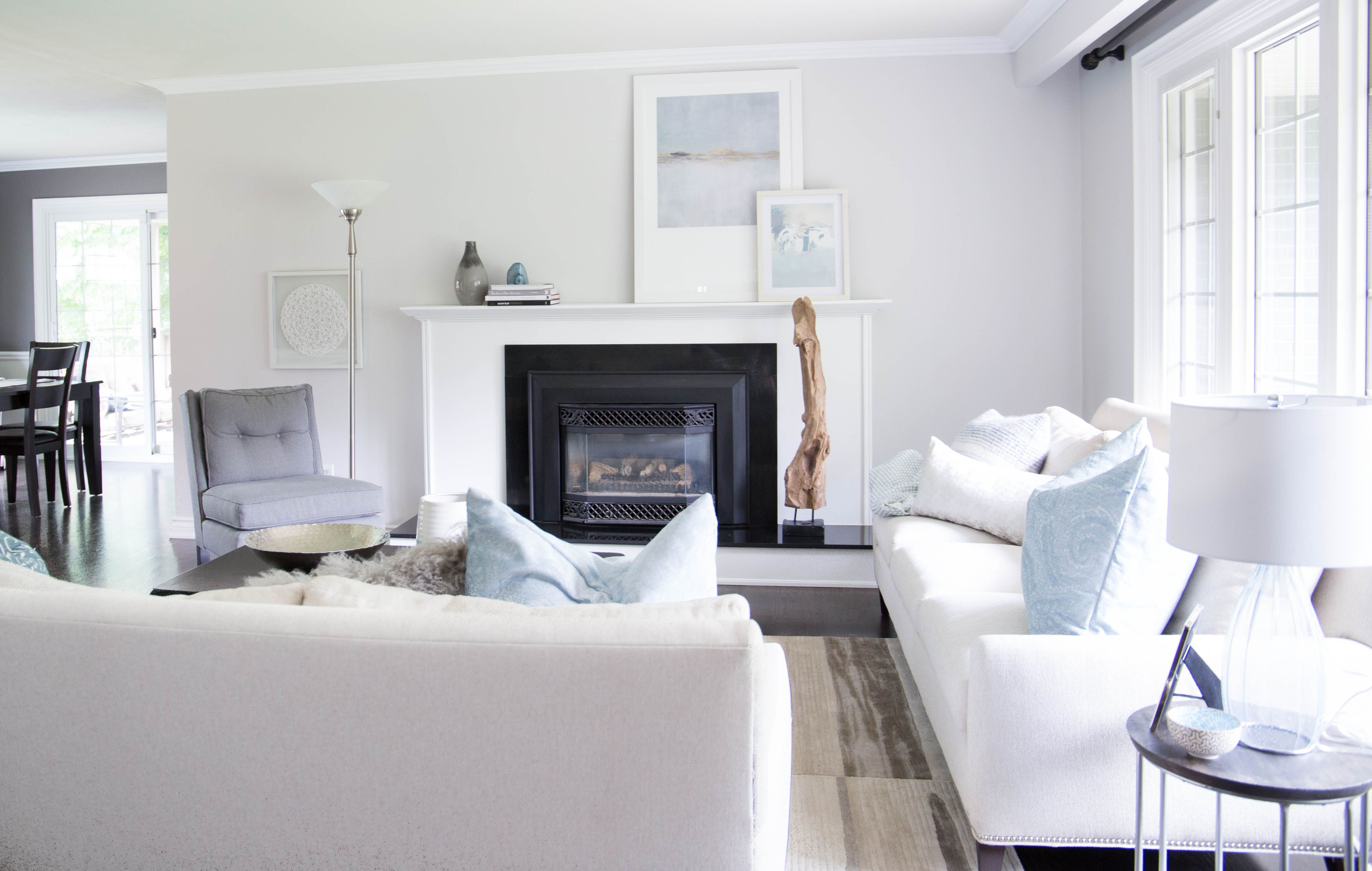 Living Room with blue and teal accents- Karin Bennett Designs ...