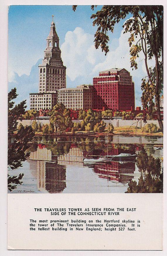 Hartford Connecticut Skyline Travelers Tower Postcard Vintage