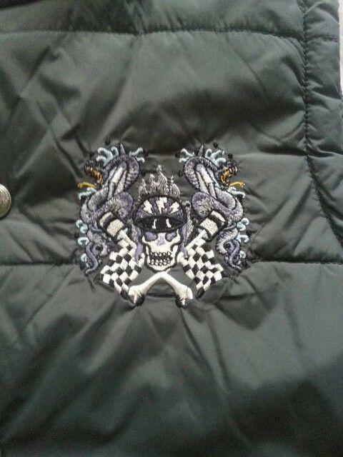 Don Ed Hardy Designs Boys Sz L Gray Puffer Vest Coat Skull Streetwear FREE SHIP #EdHardy #PufferVest