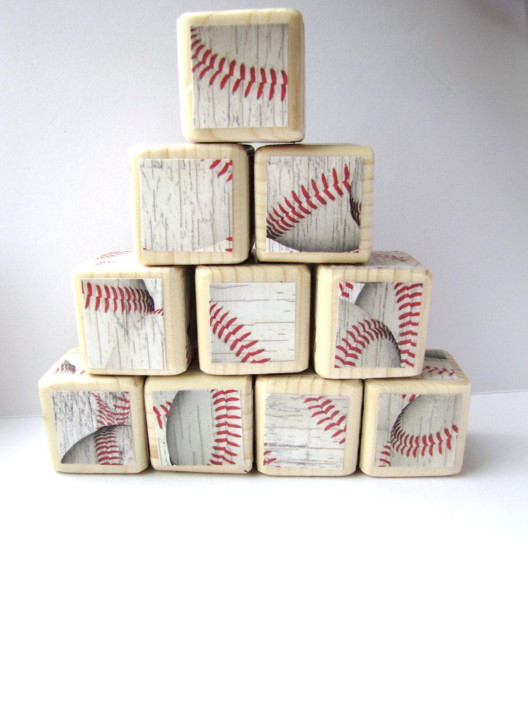 Unique Baby Boy Room Ideas: Wood Blocks. Baseball. Sports Theme Nursery Decor. Baby