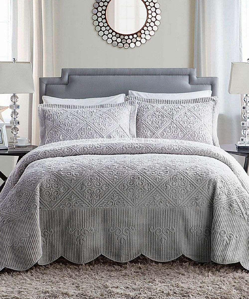 Gray White Quilt : Look at this gray westland quilted bedspread set on