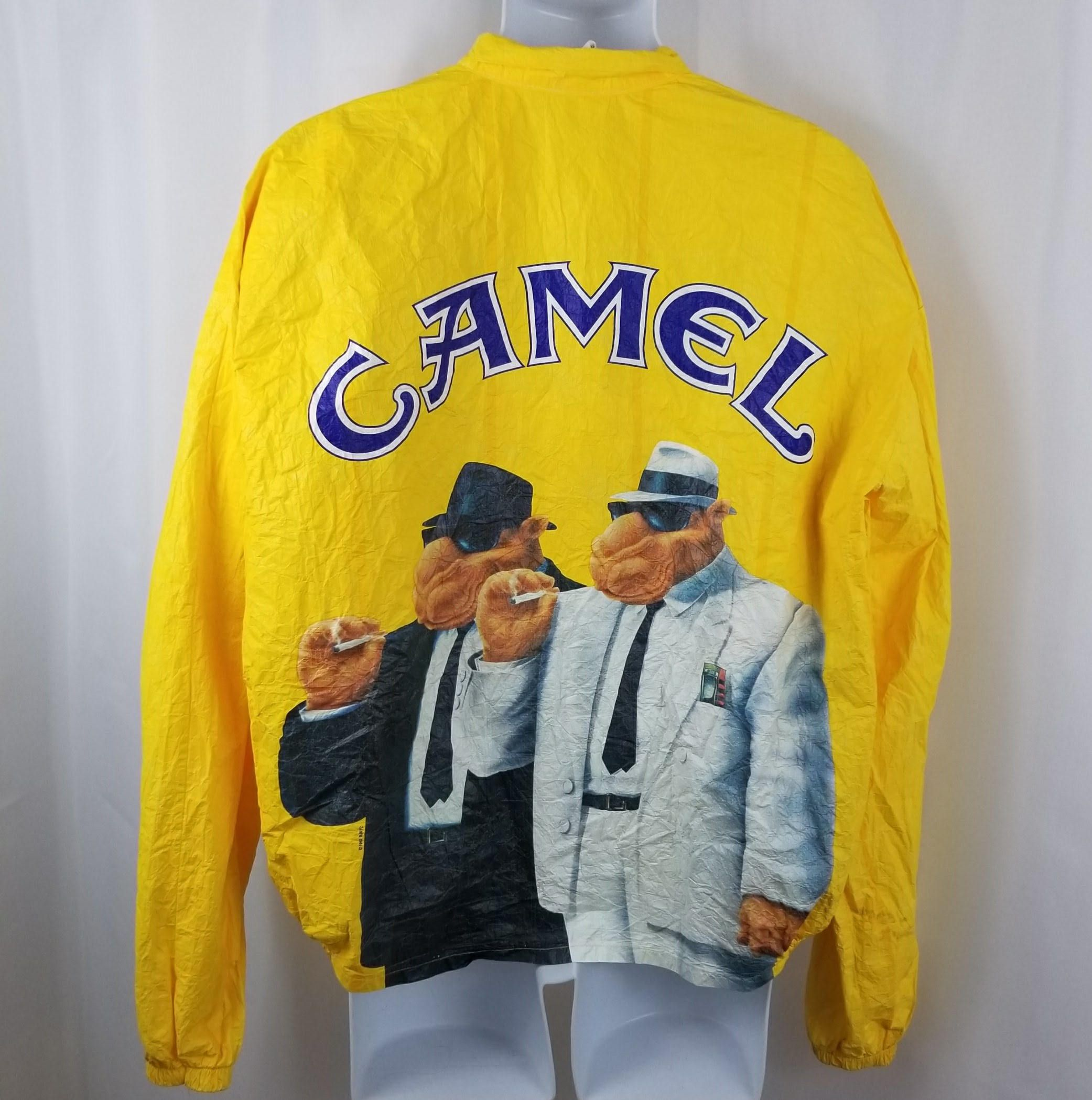 f22ea427a355 Camel Cigarettes Jacket Windbreaker 90s Yellow XL Paper Thin Tyvek Joe Cool  Vintage Advertising Smoking by TraSheeWomen on Etsy #camel #joecool  #cigarettes ...