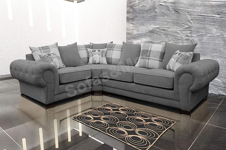 Corner Sofa Verona Fabric Left or Right Grey Brown Cream
