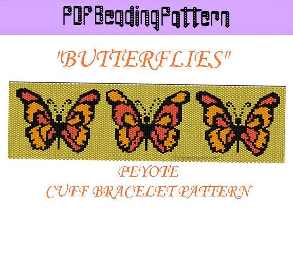 BUTTERFLIESWide Peyote Pattern Beaded by CajunsDesignPatternS, $6.50