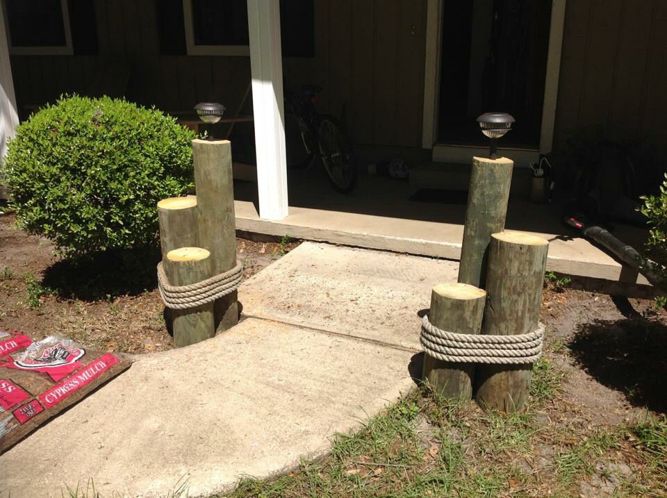 Nautical themed posts with used rope from local shrimp ... on Nautical Patio Ideas id=51718