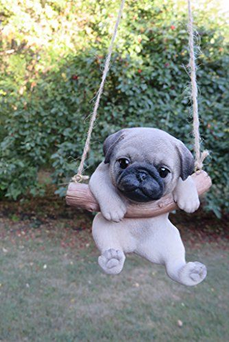Amazon.com: ChosenTreasures4You Pug Dog in a Swing: Home & Kitchen #babyanimals