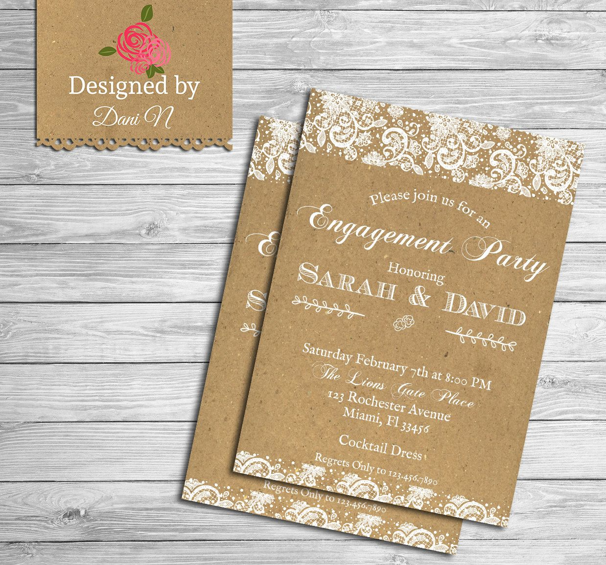 New to DesignedbyDaniN on Etsy: Engagement party invitation lace ...