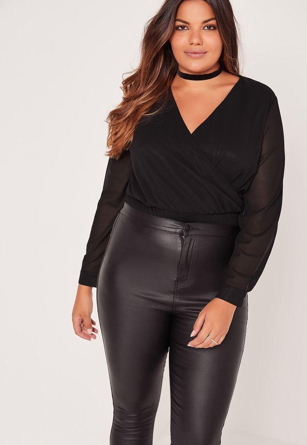 Plus Size Wrap Blouse Bodysuit Black Stylish Plus Size Tops Plus