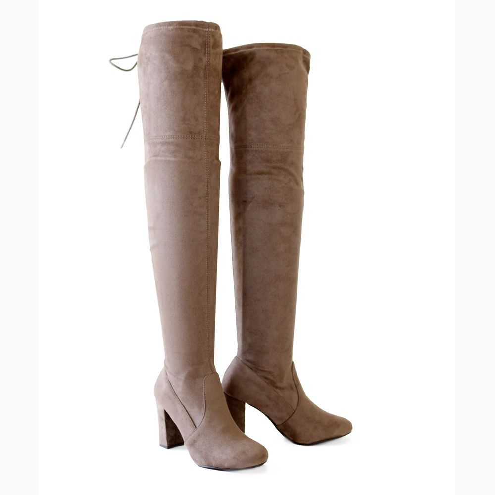 b27b2b90e2f Fall Winter Stretch Suede 3.25 in. Covered Thick Heel Over The Knee High  Boots