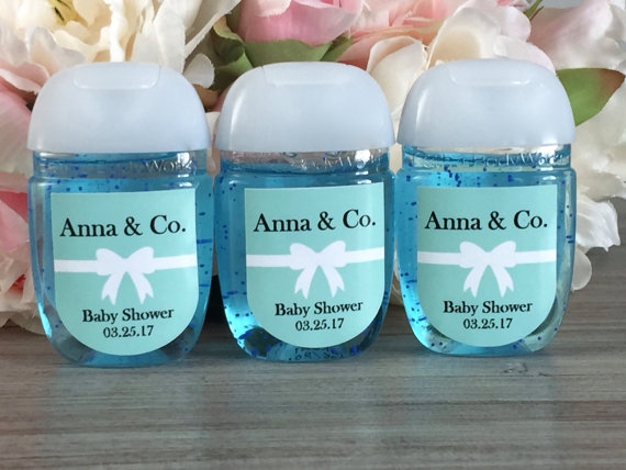 Hand Sanitizer Labels Turquoise Baby Shower Favor Labels Bridal