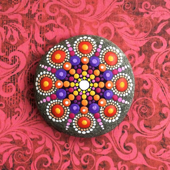 Jewel Drop Mandala Painted Stone fireflies by ElspethMcLean