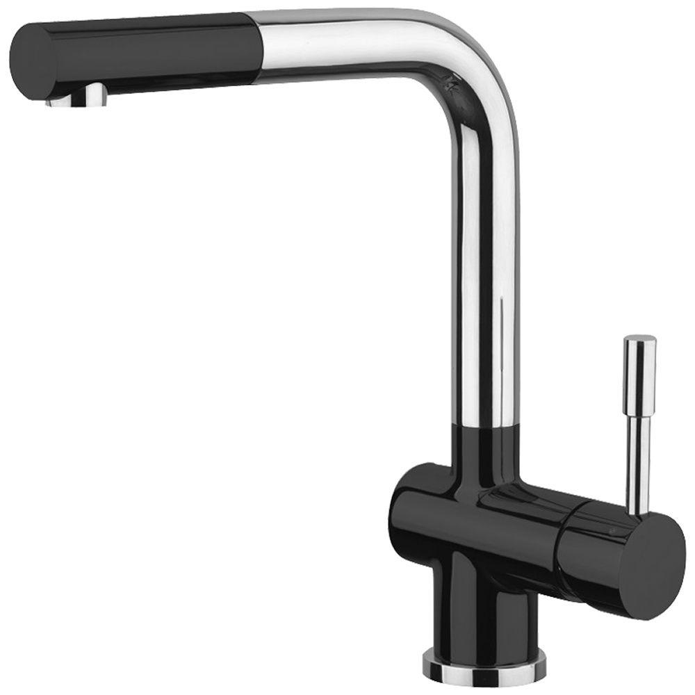 Black Kitchen Sink Taps Uk: Astini Loris Brushed Stainless Steel & Black Pullout