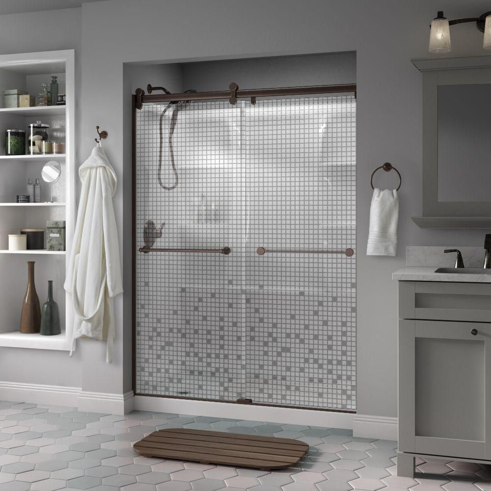 Delta Crestfield 60 in. x 71 in. Semi-Frameless Contemporary Style Sliding Shower Door in Bronze with Mosaic Glass