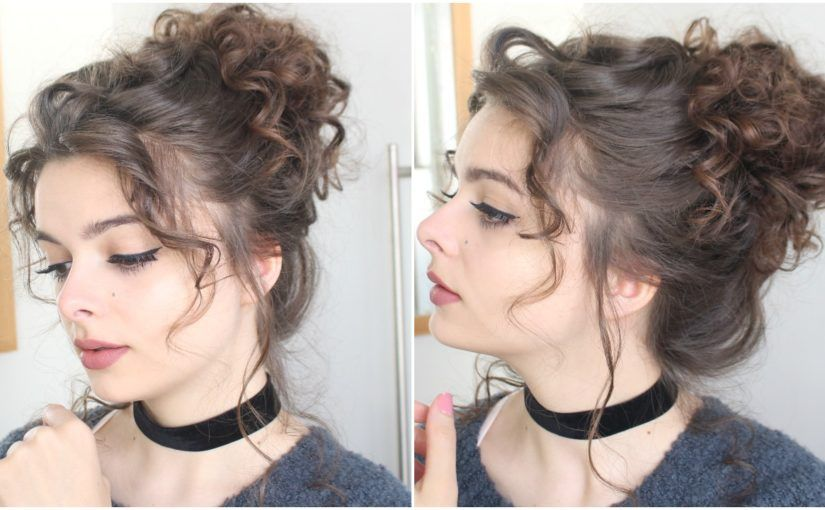 Giant Messy Curly Bun Tutorial Messy Curly Hair Messy Bun Curly Hair Curly Bun Hairstyles