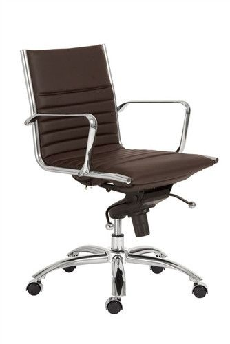 Modern Brown Leather Chrome Low Back Office Chair Office