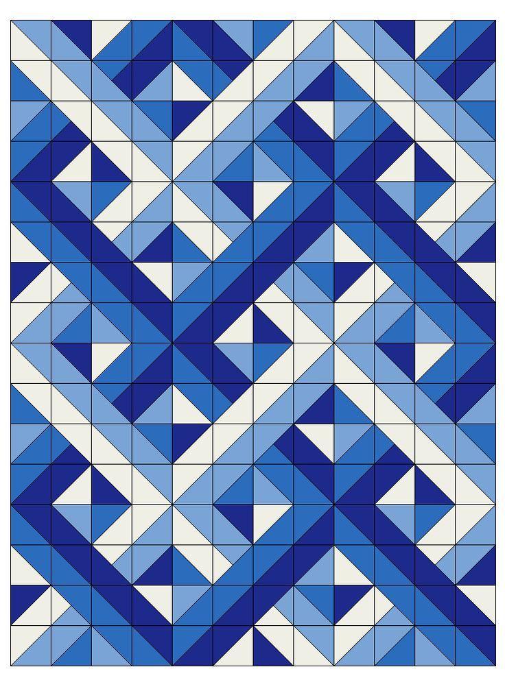 Woven Half Square Triangles Triangle Quilt Pattern Half