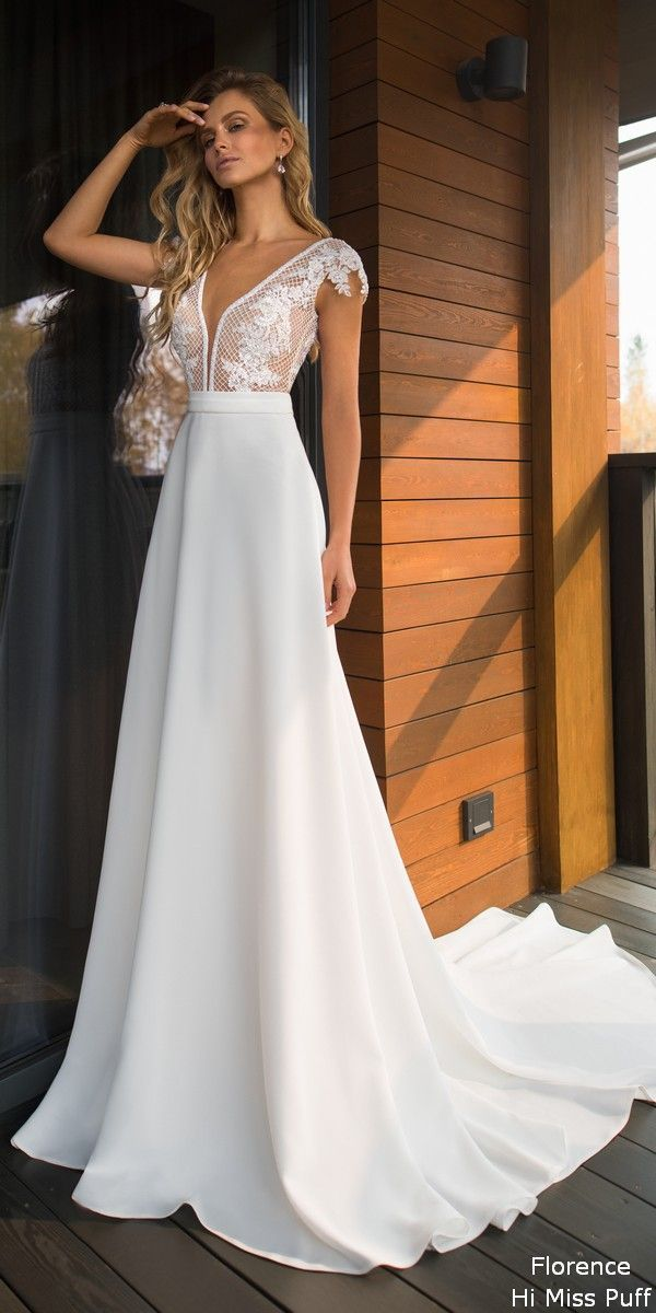 A-ligne Halter sans manches en mousseline de soie robe de mariée longue plage avec dentelle WD304   – Brautschuhe Vol2