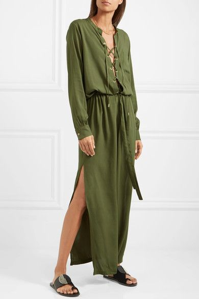 Cheap Authentic Eastbay For Sale Meghan Lace-up Voile Maxi Dress - Army green Melissa Odabash Cheap Sale Wholesale Price For Nice Choice Sale Online sgaS78OBxh