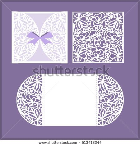 Laser cut vector wedding invitation or greeting card with flowers wedding invitation or greeting card with flowers wedding invitation envelope template mock up for laser cutting vector illustration lace vector stopboris Images