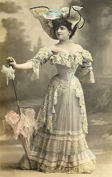 Victorian Dresses..look how small her waist is...even with corset...this is so small